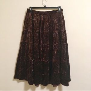2/$15 Brown Crushed Velvet Tier Maxi Skirt 1X